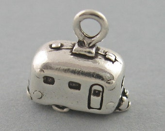 Small AIRSTREAM TRAILER Camper 3D Sterling Silver 925 Charm Pendant 2610