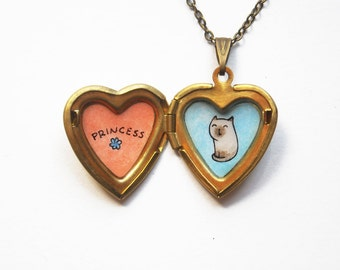 Siamese Cat Necklace - Heart Locket Pendant - Custom Cat Name Necklace - Personalized Pet Jewelry