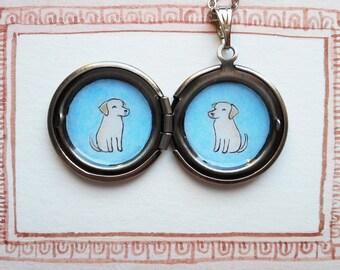 Custom Pet Portrait Jewelry- Round Locket Pendant Necklace - Gift for Pet Lover - Pet Memorial