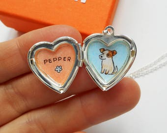 Custom Pet Portrait Locket - Pet Memorial Jewelry - Pet with Name Necklace - Gift for Pet Lovers