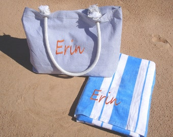 Personalized Beach Bag and Beach Towel, Bridesmaid Gift Set