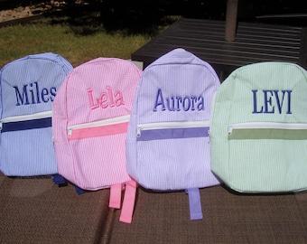 Personalized Backpack in 4 Seersucker Colors, For Toddlers, Flower Girl Gift, Ring Bearer Gift, Diaper bag