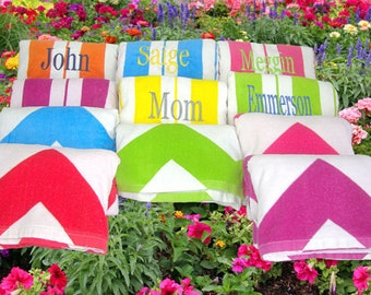 9 Personalized Beach Towels Embroiderd Name or Monogrammed Initials