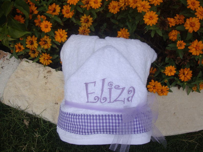 christmas gift Personalized Embroidered Hooded Towel Purple Gingham with Child/'s Name christmas present birthday present