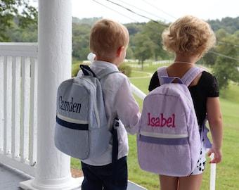 Personalized Backpack, Rucksack,  Backpack for Toddlers in Red Seersucker, Ring Bearer Gift, Flower Girl Gift