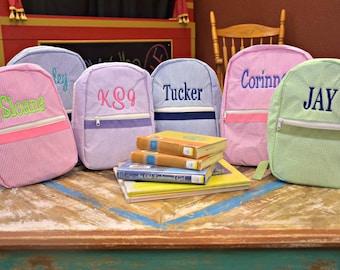 Personalized Toddler Backpack in 4 Seersucker Colors, Flower Girl Gift, Ring Bearer Gift, Diaper bag