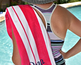 Personalized Beach Towel, Fluffier than Turkish Towel, Pool Towel, Bridesmaid Gift, Birthday Present, Christmas Present,