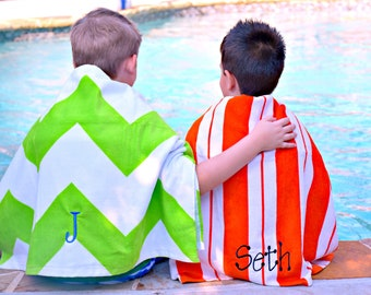 Personalized Beach Towels for Kids, Christmas Gifts in Yellow, Lime, Hot Pink, Orange, and Turquoise