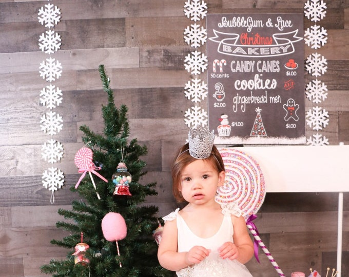 Frozen Snowflake Garland - large frozen snowflake banner in white or glitter white, 10 or 20 feet long. Other colors available.