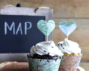 Vintage Map Cupcake Wrappers - perfect for your adventure themed wedding, baby shower, or birthday!