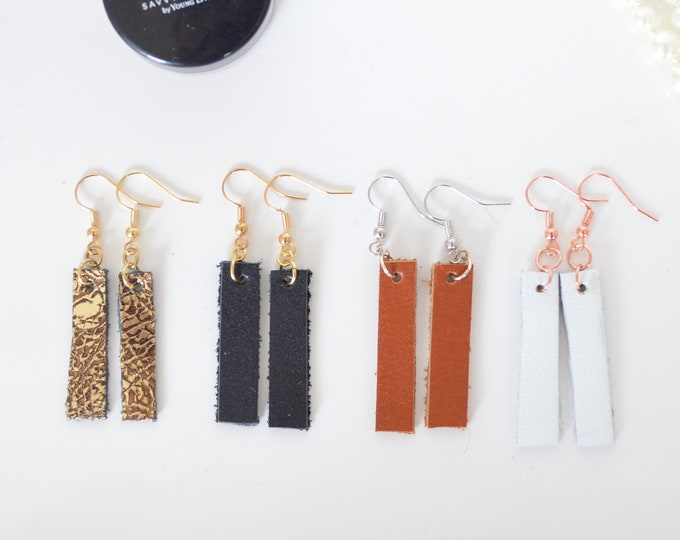 Leather Bar Style Earrings, essential oil diffuser fashion earrings in white, black, caramel and gold; nickel free hardware