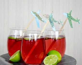 Vintage Map Airplane and White Cloud Drink Stir Sticks. Also available in red, white, blue, green, yellow, gray, black, and more.