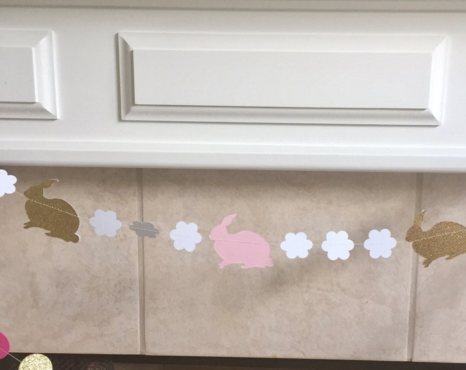 Rabbits and Vintage Flowers Garland. Custom rabbit colors available in your choice of Gold, Kraft Brown, Light Pink, Baby Blue, and more!