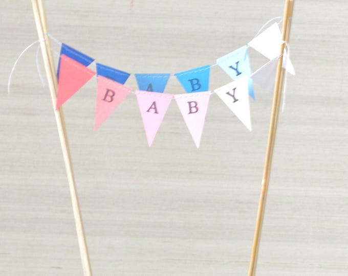 Ombre Mini BABY Personalized Bunting Garland Cake Topper, custom name birthday bunting dessert topper - you choose the colors!