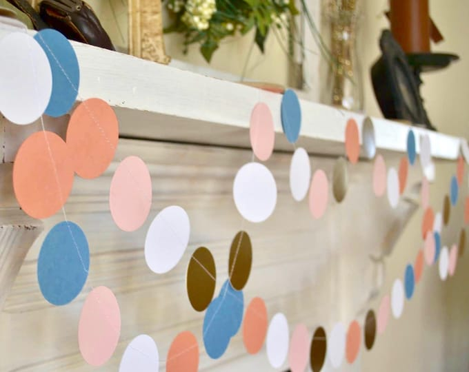 Peach, Blush Pink, Dusty Blue and Gold Confetti Large Circles Garland - choose your length!