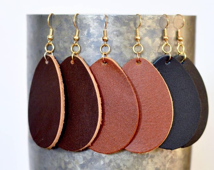 Large Leather Teardrop Earrings, genuine leather essential oil diffuser fashion earrings in Caramel, Chocolate & Black, gold-look earwires