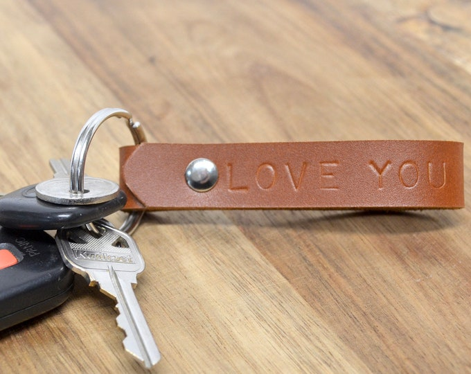 Handmade Leather Keychain - Real Leather, Long Lasting, Personalization Available. Perfect Groomsman Gift, Wedding Favor, Father's Day Gift.