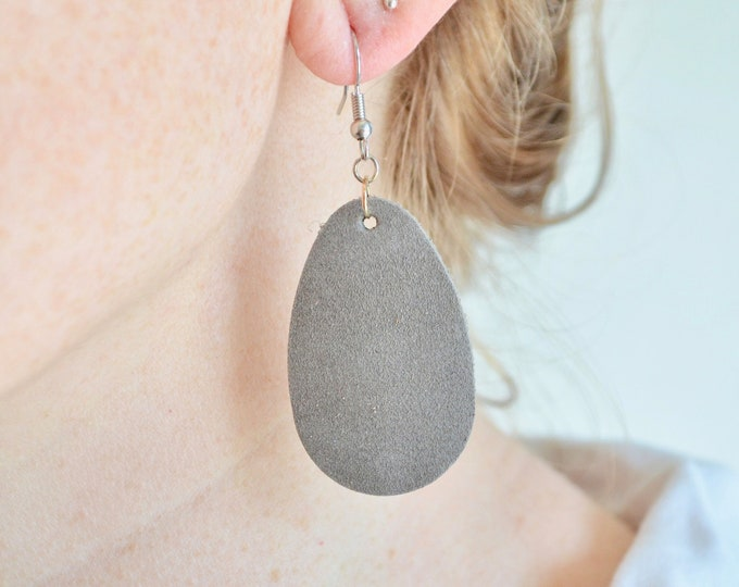 Large & Small Leather Teardrop Earrings: sueded leather essential oil diffuser style in blush, coral, grey and periwinkle, stainless wires