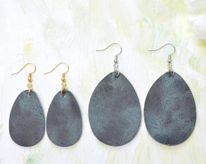Marbled Jade Green Leather Teardrop Earrings. Choose from two sizes and either gold or silver finish nickel free hardware. Genuine Leather.