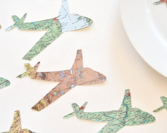 Vintage Map Paper Airplane Confetti - Small and large sizes available. White clouds also available.