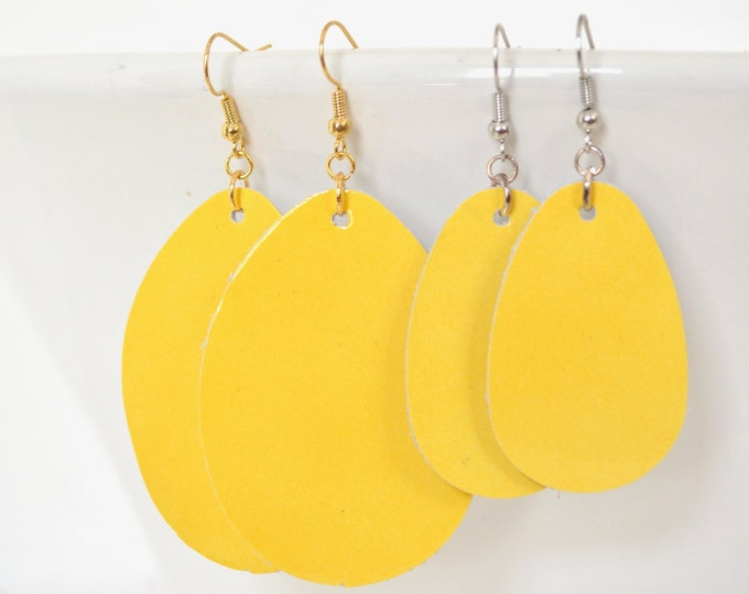Bright Yellow Leather Teardrop Earrings - Choose from large or small. Nickel free hardware. Essential oil diffuser fashion for all occasions