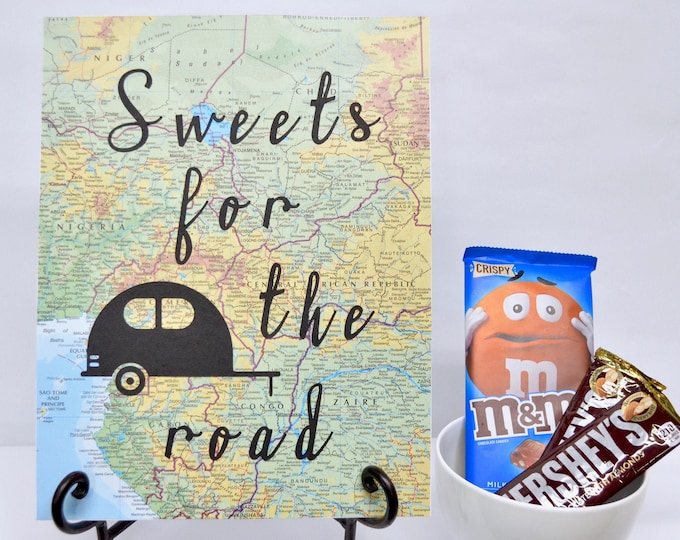 """Vintage Map Snack Table Decoration - Choose from """"Road Trip Snacks"""", """"Sweets For The Road"""" or """"Fill'er Up!"""". Need a custom sign made? Ask!"""
