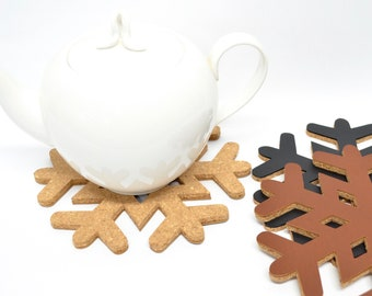 "Set of Two 8"" Snowflake Trivets. Choose from cork only or premium cork trivets backed with leather for a longer lasting finish!"