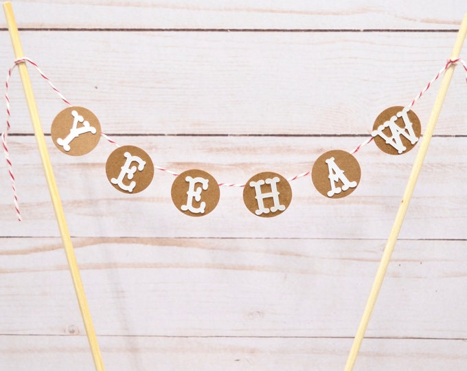 "YEEHAW - Western Themed Cake Topper. Red Twine, Kraft Brown Backers. Customize the letter color of your choice! Perfect for 6""-10"" cakes."