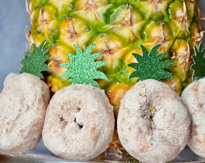Glitter Pineapple Leaf Tops - Choose from mini or standard size green glitter plant tops for cupcakes, doughnuts, sandwiches and desserts.