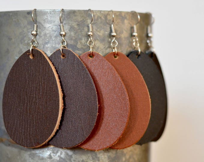 Large Leather Teardrop Earrings, genuine full-grain leather essential oil diffuser earrings in Caramel, Chocolate & Black, steel earwires