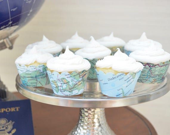 Vintage Map Mini Cupcake Wrappers - Let the adventure begin with these colorful world atlas mini cupcake wrappers.