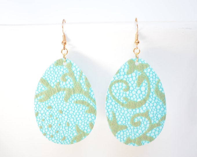 Aqua Floral Leather Teardrop Earrings - Choose from large or small. Nickel free hardware. Essential oil diffuser fashion for all occasions.