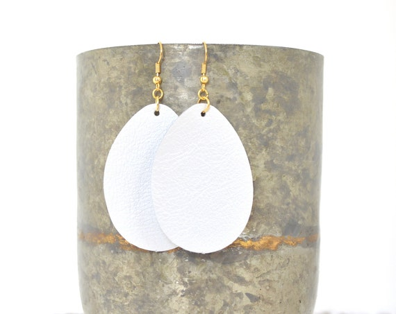 Pearl White Leather Teardrop Earrings - Choose from large or small. Nickel free hardware. Essential oil diffuser fashion for all occasions.