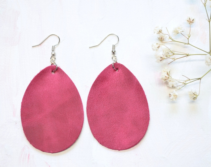 Italian Cranberry Leather Teardrop Earrings - Choose from two sizes and either gold or silver finish nickel free hardware. Genuine Leather.