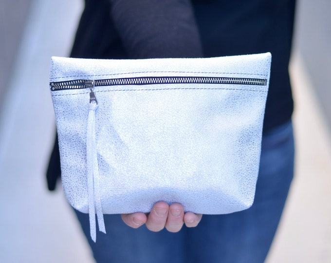 Italian Leather Clutch Bag - Perfect for makeup, pencils, diapers & wipes, and more! Choose from Frost White, Bronze, or Textured Rainbow