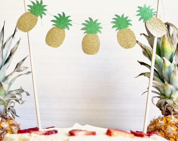Glitter Pineapple Cake Banner - gold and green glitter pineapple dessert topper