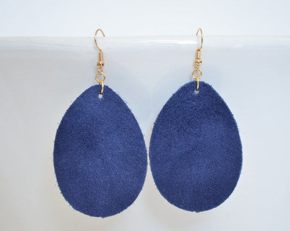 Navy Blue Leather Teardrop Earrings - Choose from large or small. Nickel free hardware. Essential oil diffuser fashion for all occasions.