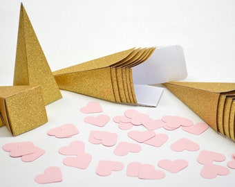 Clearance Item - 175 x Gold Glitter Confetti, Candy, or Favor Cones. Perfect for weddings, birthdays, or baby showers. Limited Quantity