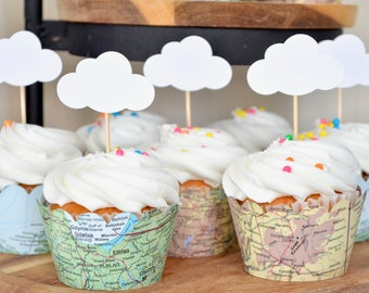 Cloud Cupcake Toppers - Perfect for baby showers, wedding, and more! Come in sets of  12, 24, 30, 36, 50, & 100. Custom colors available.