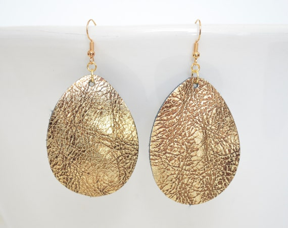 Gold Textured Leather Teardrop Earrings - Choose from large or small. Nickel free hardware, essential oil diffuser fashion for all occasions