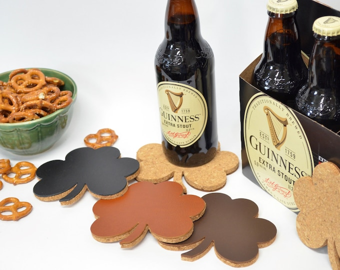 Shamrock Shaped Leather and Cork Coasters - Set of 4. Protect your table with these lucky shamrock coaster this St. Patrick's Day!
