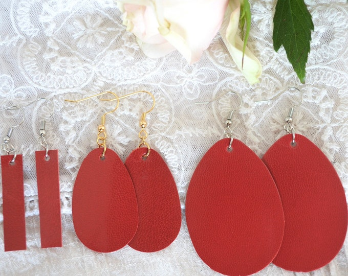 Red Leather Earrings - Choose from large teardrops, small teardrops, or small bars. Nickel free hardware in either gold or silver finish.