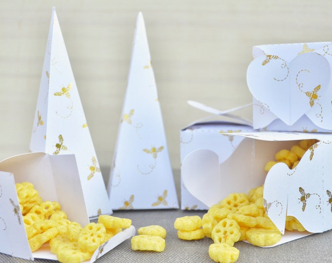 Gold Foil Honey Bee Boxes for Confetti, Small Gifts, or Party Favors - Choose from Heart Topped Boxes, Cones, or Heart Handled Bags.