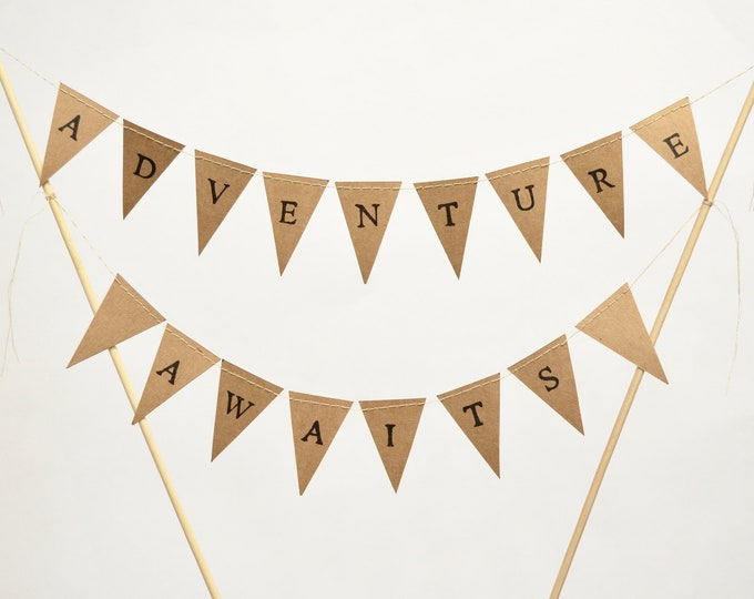 ADVENTURE AWAITS Hand Stamped Cake Topper Garland, mini paper bunting - custom colors and papers available