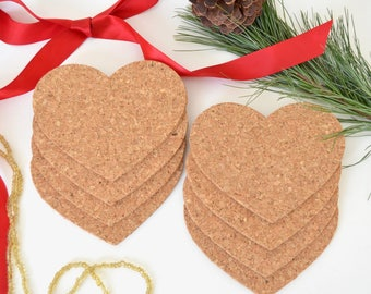 Heart Shaped Cork Coasters - in sets of 4, 8, 12, 16, etc., Arrives ready to gift or use! Perfect for Christmas, Valentine's Day, and more!
