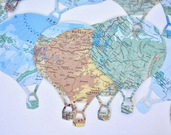 Vintage Map Hot Air Balloon Confetti and white cloud confetti.