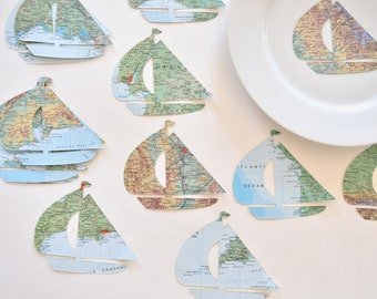 Vintage Map Sailboat Shaped Confetti - Choose from 30 or 50 pieces