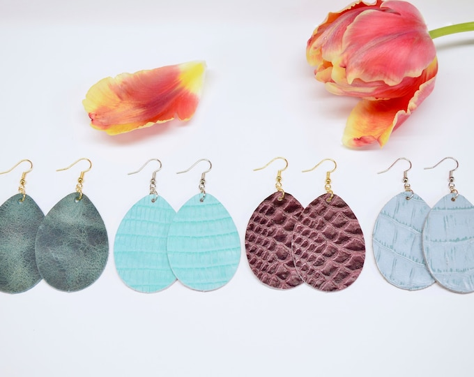 Large & Small Leather Teardrop Earrings in Jade, Tiffany, Burgundy, or Light Turquoise. Nickel free hardware. Essential oil fashion.
