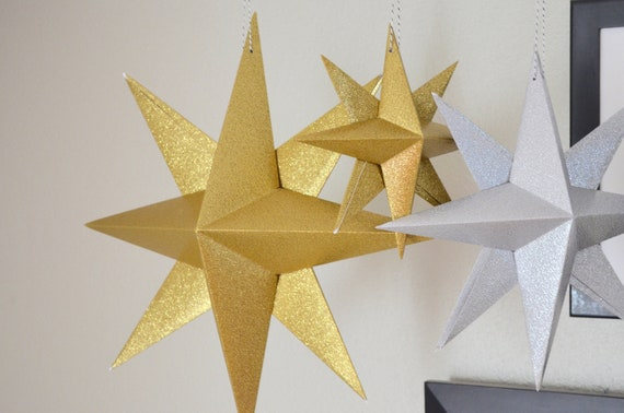 DIY Glitter Hanging Paper Star Kit - make your own small, medium or large folded origami decoration - custom colors available