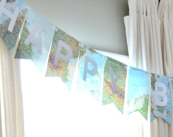 Deluxe Vintage Atlas/Map Banner. Choose From Happy Birthday, Adventure Awaits, Let The Adventure Begin, or Traveling From Miss To Mrs.